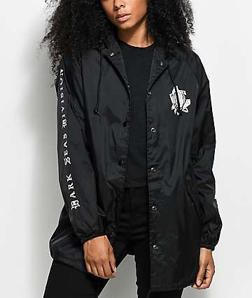 Dark Seas Hawthorn Rose Black Hooded Coaches Jacket