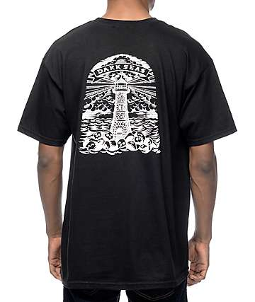 Dark Seas Lighthouse Grave Black T-Shirt
