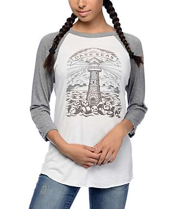 Dark Seas Lighthouse Grave Grey Baseball T-Shirt