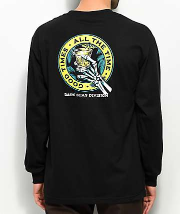 Dark Seas Lounge Time Black Long Sleeve T-Shirt