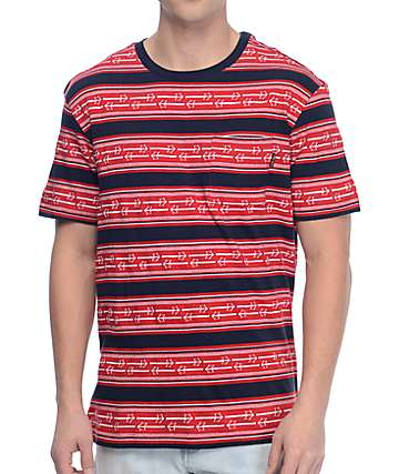 Dark Seas Magnolia Red & Navy Striped Knit Shirt