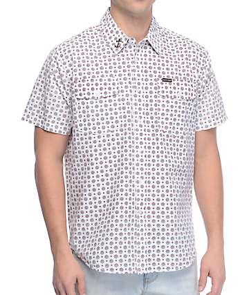 Dark Seas Main Sheet White Short Sleeve Button Up Shirt