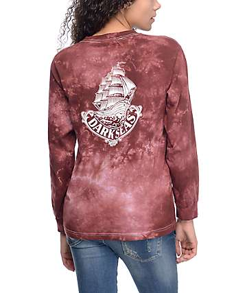 Dark Seas Maven II Maroon Tie Dye Long Sleeve T-Shirt