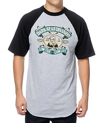 Dark Seas Midshipman Black & Grey Raglan T-Shirt