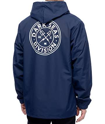 Dark Seas Navigator Navy Hooded Coaches Jacket