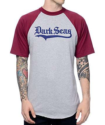 Dark Seas Pastime Burgundy & Grey Baseball T-Shirt