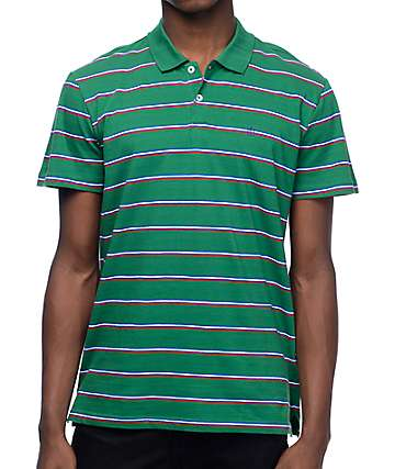 Dark Seas San Diego Green Stripe Polo Shirt