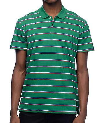 Dark Seas San Diego Green Stripe Polo Shirt