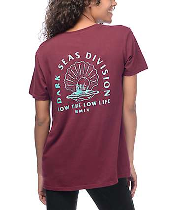 Dark Seas Scallop All Day Burgundy T-Shirt