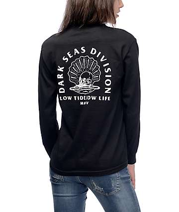 Dark Seas Scallop Stow Away Black T-Shirt