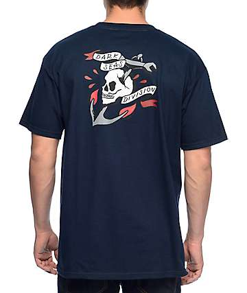 Dark Seas Skull Anchor Navy T-Shirt