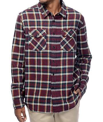 Dark Seas Slacker NY Red Flannel Shirt