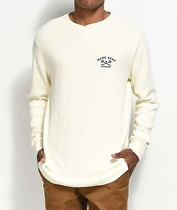 Dark Seas Weston Off-White Long Sleeve Henley Thermal Shirt