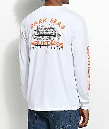 Dark Seas X Grundens Heritage camiseta blanca de manga larga