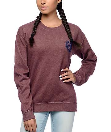 Dark Seas Yin Yang Wave Dusty Rum Crew Neck Sweatshirt