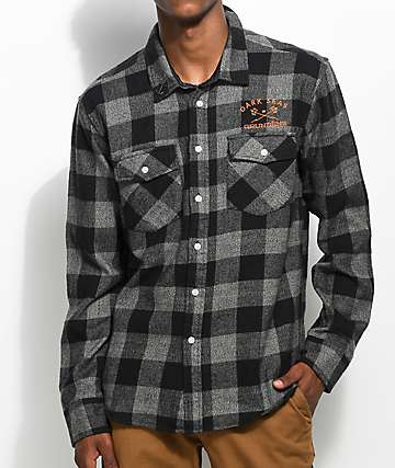 Dark Seas x Grundens Black & Charcoal Plaid Flannel