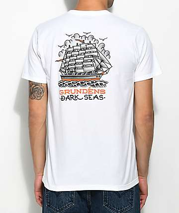 Dark Seas x Grundens Ink & Iron White T-Shirt