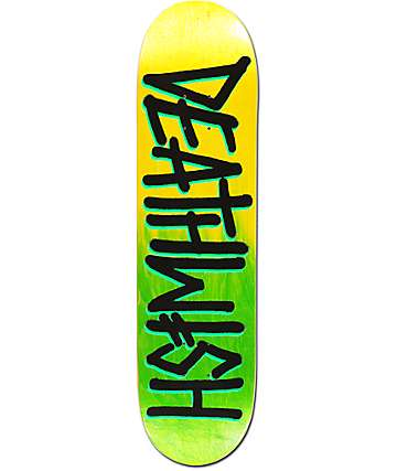 "Deathwish Deathspray Green & Yellow  8.0"" Skateboard Deck"