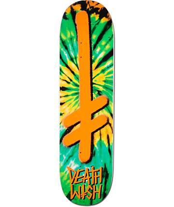 "Deathwish Gang Logo Orange Tie Dye 8.25"" Skateboard Deck"