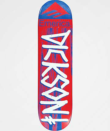 "Deathwish x Emerica Dickson 8.25"" Red & Blue Skateboard Deck"