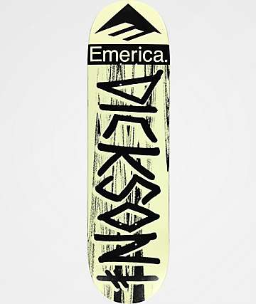 "Deathwish x Emerica Dickson 8.5"" Cream & Black Skateboard Deck"