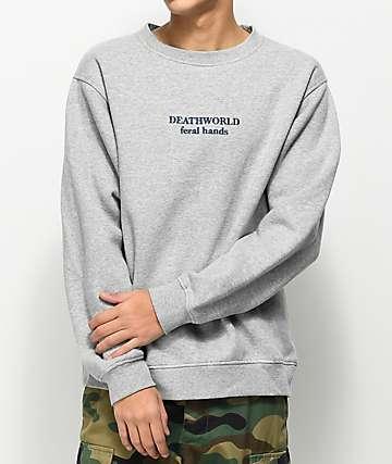 Deathworld Feral Grey Fleece Crew Neck Sweatshirt
