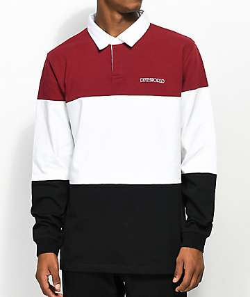 Deathworld Gemsbok Burgundy, White & Black Long Sleeve Polo Shirt