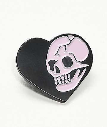 Deja Pins Heart Skull Pin In Black & Pink