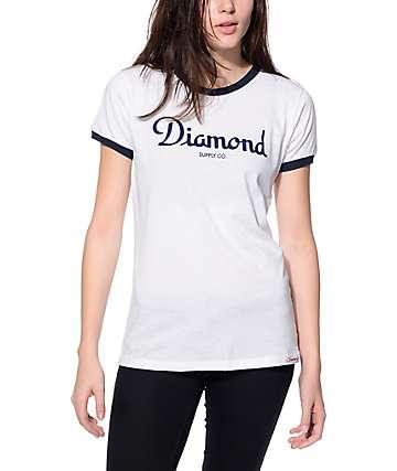 Diamond Champagne Script Blue Ringer T-Shirt