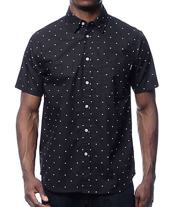Diamond Deco Black Woven Button Up Shirt