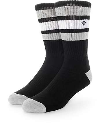 Diamond Supply Co 3 Stripe Black & Grey Crew Socks