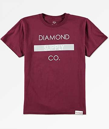 Diamond Supply Co Bar Logo camiseta en color borgoño para niños