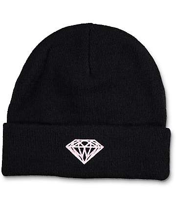 Diamond Supply Co Black Fold Over Beanie