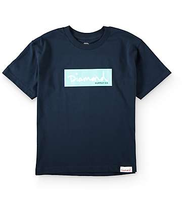 Diamond Supply Co Boys Box Logo Navy T-Shirt