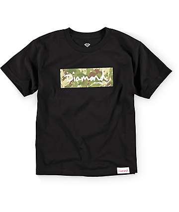 Diamond Supply Co Boys DMND Camo Box Logo Black T-Shirt