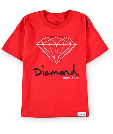 Diamond Supply Co Boys OG Sign Red T-Shirt