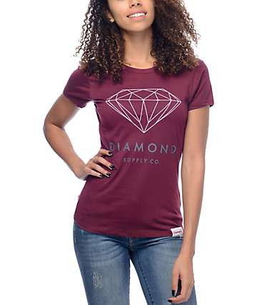 Diamond Supply Co Brilliant Burgundy T-Shirt