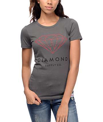 Diamond Supply Co Brilliant Diamond Grey & Red T-Shirt