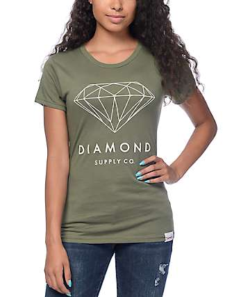 Diamond Supply Co Brilliant Diamond Olive T-Shirt