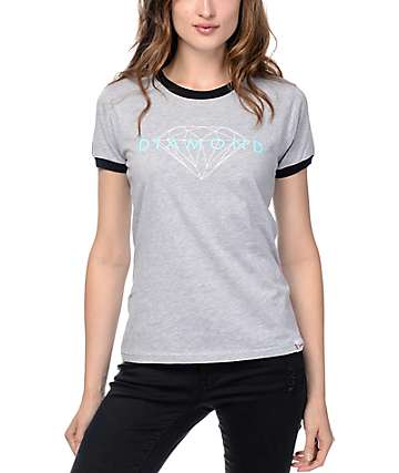 Diamond Supply Co Brilliant Heather Grey & Black Ringer T-Shirt