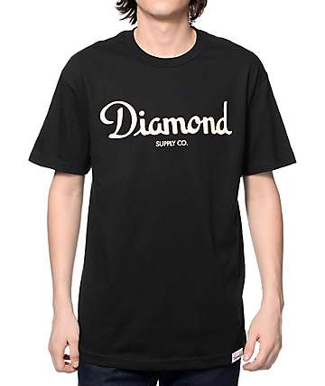 Diamond Supply Co Champagne Script Black T-Shirt