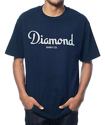 Diamond Supply Co Champagne Script Navy T-Shirt
