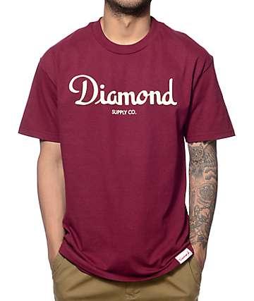 Diamond Supply Co Champagne Script camiseta en color bogoña
