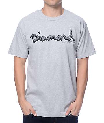 Diamond Supply Co Coal OG Script Grey T-Shirt
