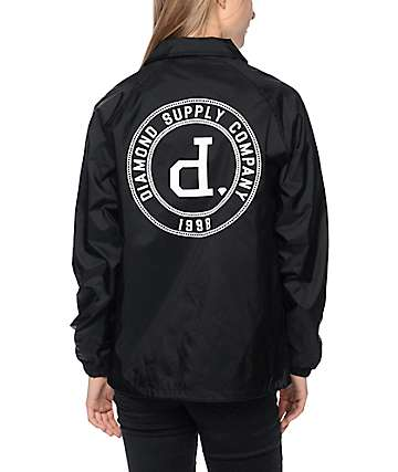 Diamond Supply Co College Seal Black Coaches Jacket