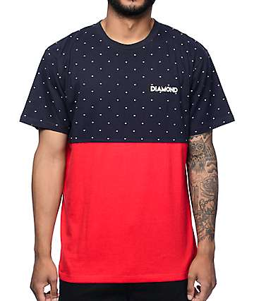 Diamond Supply Co Deco Navy & Red T-Shirt