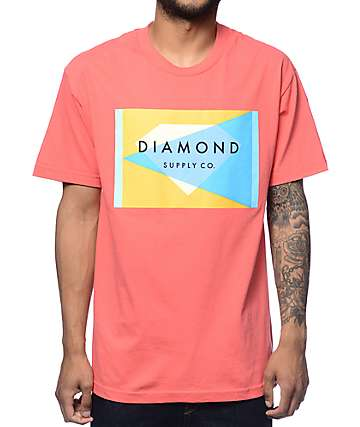 Diamond Supply Co Geometric Salmon T-Shirt