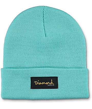 Diamond Supply Co Gold Foil Blue Beanie