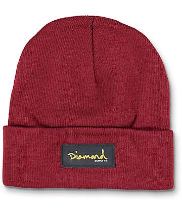 Diamond Supply Co Gold Foil Fold Over Burgundy Beanie