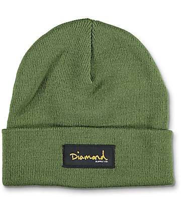 Diamond Supply Co Gold Foil Olive Cuff Beanie